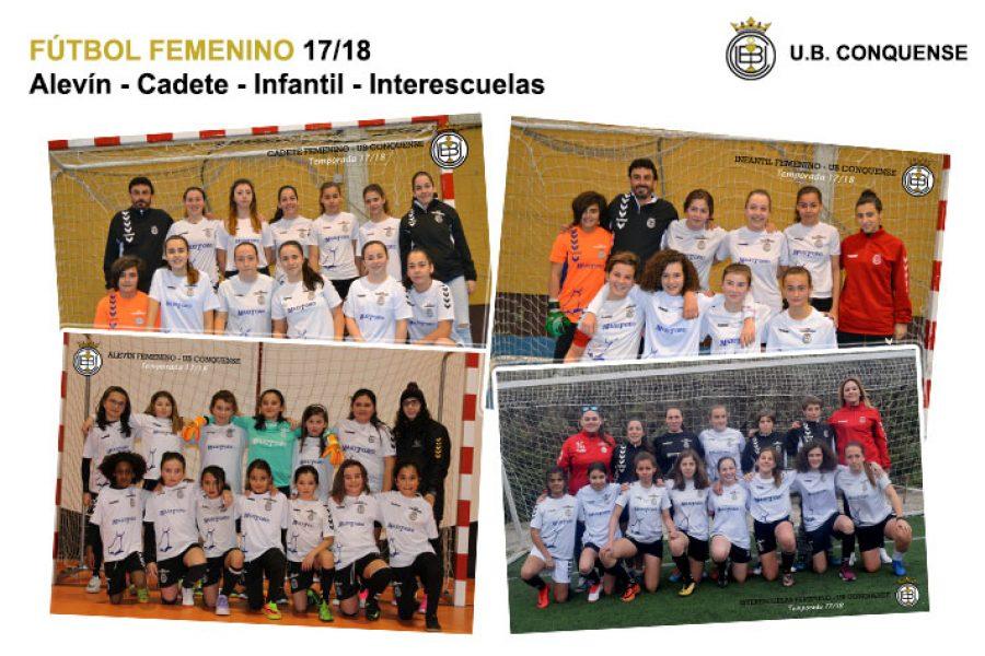Equipos y chicas de la Escuela de Fútbol 2017/18 – Fútbol Femenino